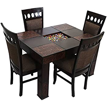 2424c342de Look In Furniture Engineered Wood Dining Table with 4 Chairs, Standard  (Walnut, 56)
