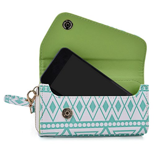 Kroo Tribal Style urbain pour téléphone portable Walllet embrayage pour Samsung Galaxy Trend Lite multicolore Hot Pink White with Mint Blue