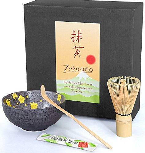 Matcha Lot de 3 Pièces, anthracite Jaune, composé de Matcha bol, Cuillère à matcha de et à fouet (Bambou) dans un coffret cadeau. Original Aricola®