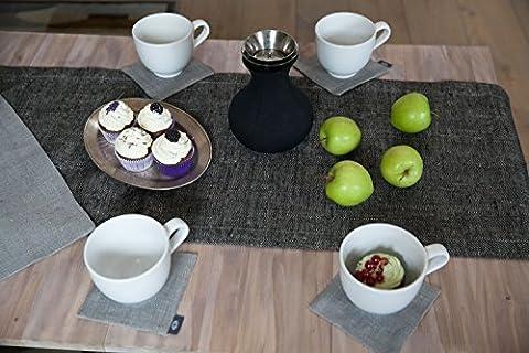 Handmade Linen Table Runner 40x190cm by ThingStore | Kitchen Tablecloth Black Herringbone