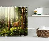 YLXINGMU Duschvorhang 3D-Gedruckter Duschvorhang Elche Im Wald Heimtextilien Wasserdicht Feuchtigkeitsfest 200Cm(W)×200Cm(H)