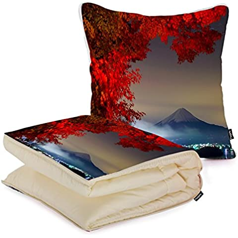 i FaMuRay Environment Fuji Landscapes Mount Mountains Nature Trees Cuscino e Coperta da Viaggio