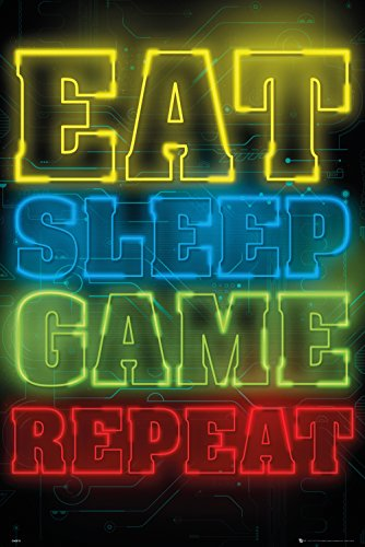 GB eye Ltd POSTER GAMING EAT SLEEP GAME REPEAT, Multicolor, 61 x...