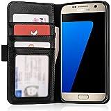 Caseflex Premium Samsung Galaxy S7 Hülle Echt Leder Schmale Stand Brieftasche mit ID / Bargeld / Karten Aussparrung - Schwarz
