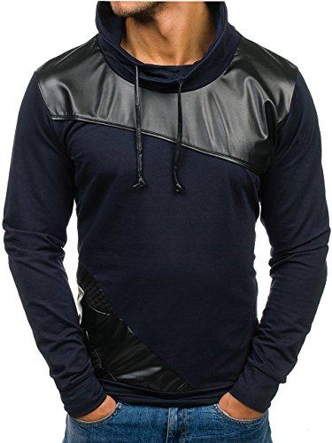 BOLF Herren Sweatshirt Langarmshirt 3210 Dunkelblau M [1A1] Sweatshirt Pullover Kunstleder Motiv Langarmshirt |