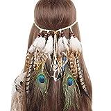 our fantasy time Einzigartige Indianer Stirnband,Baumwollgarn Flechten Haarband mit wild Feder und Holz Perlen , Hippie Boho kopfschmuck, Damen Haarschmuck, sehr schöne Accessoire für Fasching, Karneval, Halloween party, Maskerade usw.