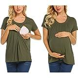 Unibelle Frauen Schwangere Mutterschaft T-Shirts Shorts Casual Schwangerschaft Kleidung für Frauen Kleidung Baumwolle T-Shirt XL, Armeegrün