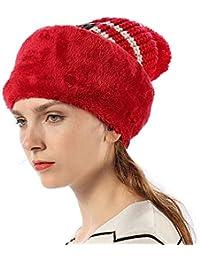 Cappello Passamontagna Donna Bambina Lana in Maglia Invernali - Berretto 3  in 1 Balaclava Maschera Knit con Pompon Antivento Caldo 6995b46ca7af