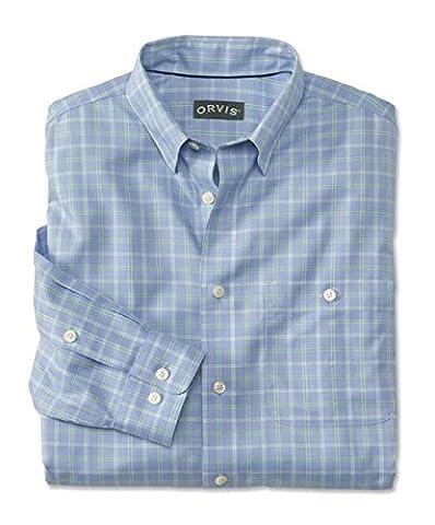 Orvis Hidden-button-down Wrinkle-free Cotton Twill Shirt, Green/Blue, X