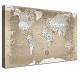LANA KK Leinwandbild Weltkarte deutsch mit Korkrückwand zum pinnen der Reiseziele Kunstdruck, natur, 80 x 60 cm