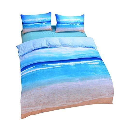 sleepwish Strand und Ocean Betten Hot 3D Print Bettbezug Twin Full Queen King Size, Mikrofaser, blau, Volle Größe (Tröster Full Set Strand)