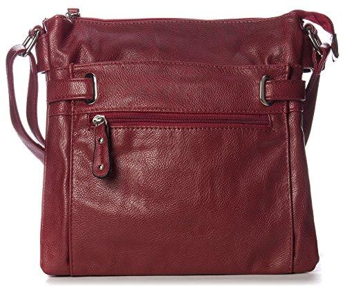 Big Handbag Shop - Borsa messenger da donna, con tracolla e tasche multiple, misura media Rosso (rosso scuro)