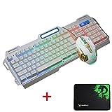 LexonElec® K38 Gaming Tastiera e mouse Combo Wired Rainbow retroilluminato a LED Multimedia Tastiera ergonomica per giochi da tavolo in metallo impermeabile + luce respiratoria 3200 DPI 6 pulsanti Mouse ottico per videogiochi + tappetino per mouse (K-38 / bianco argento)