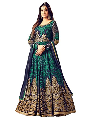 SareeShop Women's Embroidered Semi-Stitched Salwar Suit (Green)
