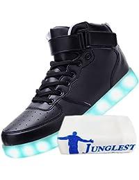(Presente:peque?a toalla)Negro 40 Up JUNGLEST colores Zapatos LED moda Negro Mujere u0FIZ