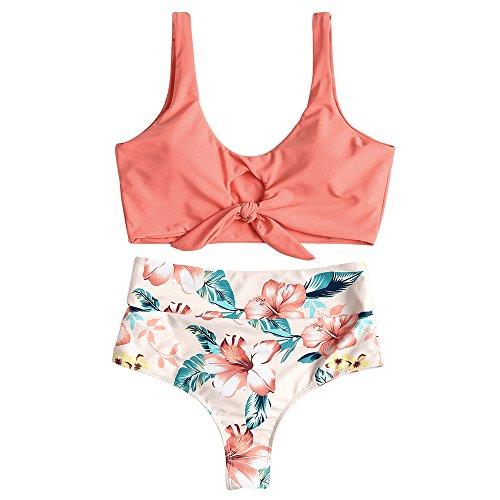 ZAFUL Damen Geknoteter Schmaler Floral High Waist Bikini Sommer Badeanzug Beachwear(Wassermelone Rosa S) -