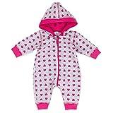 Baby Sweets Babystrampler Mädchen mit Herzen Motiv/Overall mit Kapuze für Neugeborene & Kleinkinder | Größe: 1 Monate (56)