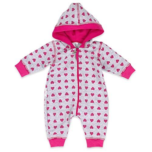 Baby Sweets Babystrampler Mädchen mit Herzen Motiv/Overall mit Kapuze für Neugeborene & Kleinkinder | Größe: 1 Monate (56) ... (Rot Neugeborenen Baby-kleidung)