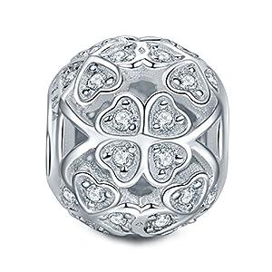 NINAQUEEN ♥Vierblättriges Kleeblatt♥ 925 Sterlingsilber Rotgold Charm mit Swarovski Kristall mit Standardarmband kompatibel