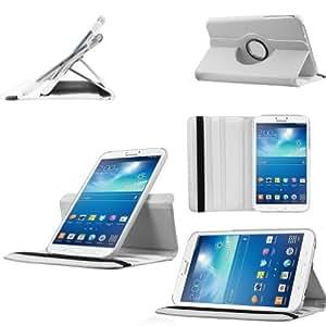 Etui Luxe Rotatif 360° Extra fin Blanc pour Samsung Galaxy Tab 3 7.0 T2100 P3210 (mode Paysage - Portrait - Livre) + STYLET et FILM OFFERTS !...