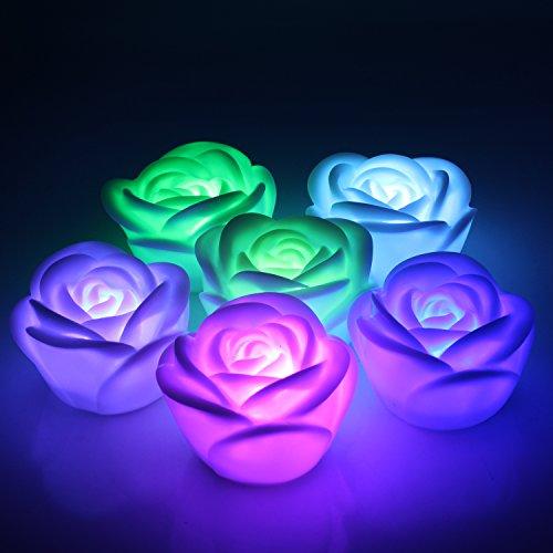 Aussel 6 pièces Fantaisie Changement coloré LED Rose Fleur Romantique Mariage Décoration Décoration Lampes Bougies Faire une Wish Lights