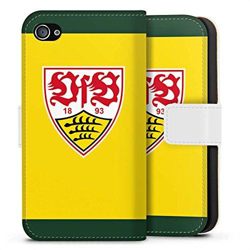Apple iPhone X Silikon Hülle Case Schutzhülle VfB Stuttgart Fanartikel 1893 Bundesliga Sideflip Tasche weiß