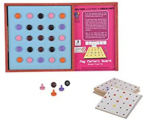 Skillofun Wooden Travel Toy - Peg Pattern Board, Multi Color-Packaging may Vary