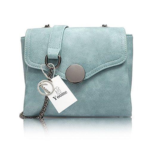 Yoome Printing Retro Taschen für Schulter Stilvolle Taschen für Frauen Damen Geldbörsen Geldbörse - Grau Blau
