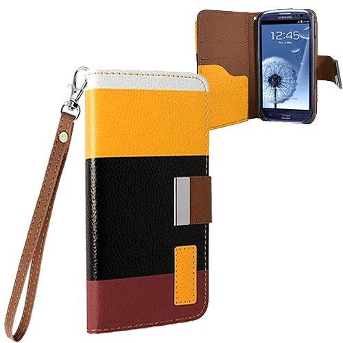 Xtra-Funky Exklusiv Regenbogen gestreiftes Block PU-Leder Geldbeutel Fall mit Kreditkarten- & Geldschlitzen für Samsung Galaxy S3 Mini (i8190) - Entwürfe SD5