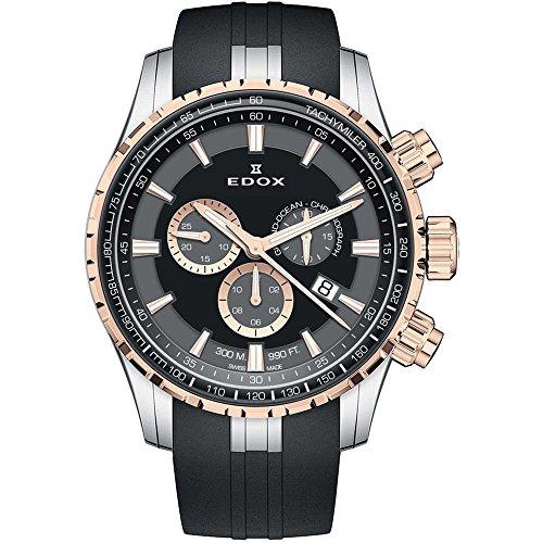 Edox Men's Analog Swiss-Quartz Watch with Rubber Strap 10226 357RCA NIR