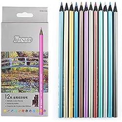 12 Lápices de colores metalizados no tóxicos nuevo a fuentes de escuela de arte para Colouring Books Romantic Country Magical Jungle
