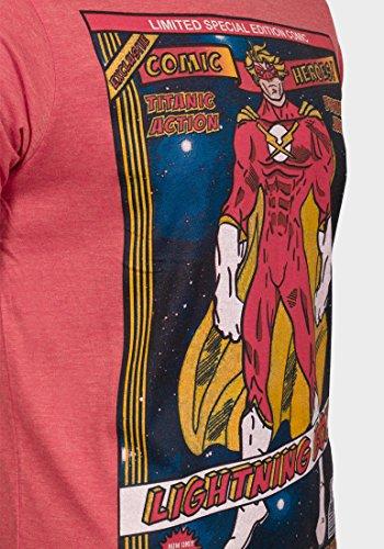Superhero Schraube Herren T-Shirt Print Tee Shirt Graphic Top Short Sleeve Casual Weiß - Rot