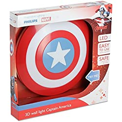 Philips Lampada da Parete Marvel Captain America in 3D, Batterie Incluse