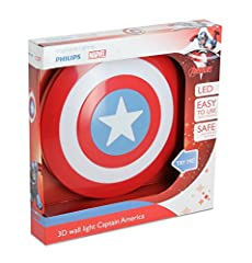 Idea Regalo - Philips Lampada da Parete Marvel Captain America in 3D, Batterie Incluse
