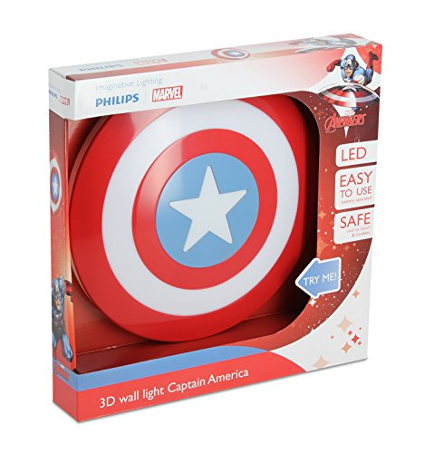 Philips Marvel Captain America LED Wandleuchte 3D, rot, 915005309601 (Captain America Dekorationen)