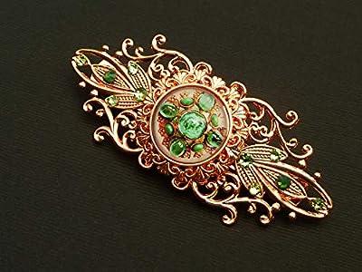Pince à cheveux avec motif de pierres précieuses en or rose vert