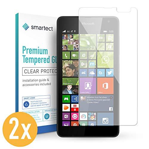 smartect Panzerglas für Microsoft Lumia 535 [2 Stück] - Bildschirmschutz mit 9H Härte - Blasenfreie Schutzfolie - Anti Fingerprint Panzerglasfolie