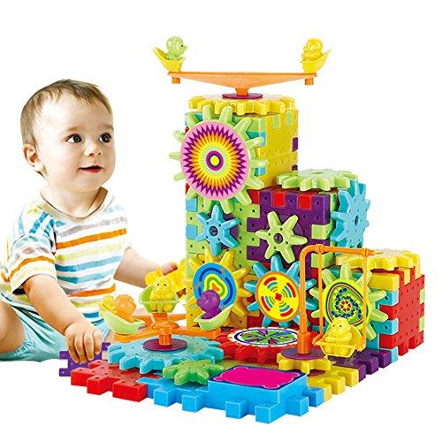 Liamostee 81 Stück Kunststoff elektrische Zahnräder 3D Puzzle Bausteine Lernspielzeug für Kinder Geschenk - Zahnrad-puzzle
