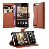 Cadorabo DE-103174 Huawei Ascend G6 Handyhülle mit Kartenfach und Standfunktion Braun