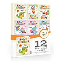 12 x Kids Animal Fun Birthday Card Pack by Olivia SamuelTM. Includes envelopes. Made in The UK