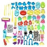 DOITEM Knetwerkzeug Teig Plastilin Werkzeuge, Knete Zubehör Formen Tiere und Formen Ausdruck, 136 Stück