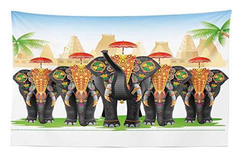 ABAKUHAUS Étnico Tapiz de Pared y Cubrecama Suave, Elefantes en Vestimenta Tradicionale con Sombrillas Ceremonia Étnica Ritual Gráfico, Lavable Estampado Digital, 230 x 140 cm