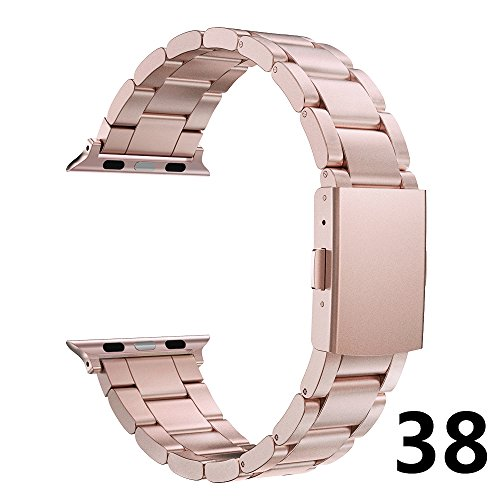 Simpeak Correa Apple Watch Series 3 / Series 2 / Series 1 Correa 38mm Correa de Acero Inoxidable Reemplazo de Banda de la Muñeca con Metal Corchete para Apple Watch Todos los Modelos 38mm Oro Rosa