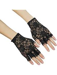 OULII Lace Fingerless gants gothique poignet wedding Party gants 1 paire (noir)