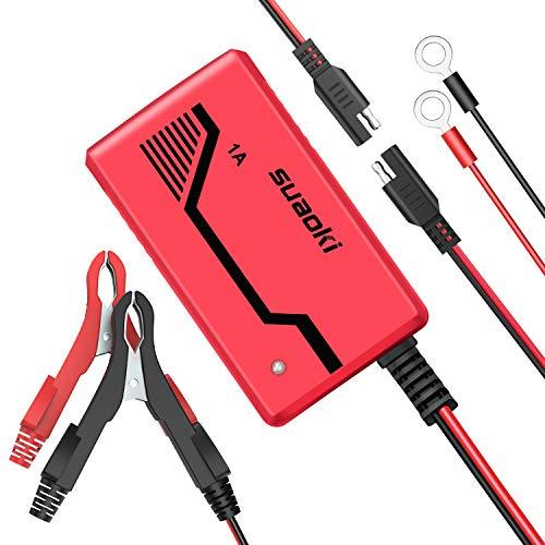 SUAOKI Caricabatteria Automatico 6V/12V-1A Multi Protezioni Caricatore Intelligente Batteria Sigillata agli Acidi di Piombo (SLA) dell'Auto con Morsetti, Clip ad Anello Staccabili