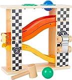 Small Foot 10601 Klopfkugelbahn aus Holz im Ralley-Design mit Zwei verschiedenfarbigen Kugeln und Hammer zum Kugelklopfen