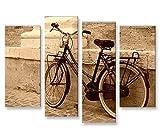 islandburner Bild Bilder auf Leinwand Hollandrad Sepia Retro Altes Fahrrad 4er XXL Poster Leinwandbild Wandbild Dekoartikel Wohnzimmer Marke