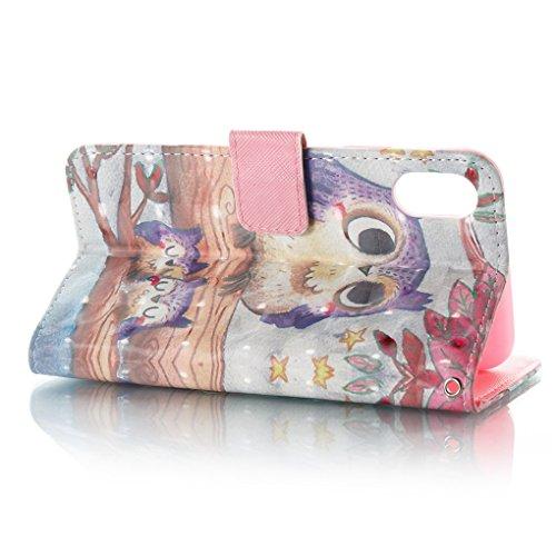 Apple iPhone X Hülle, SATURCASE Schönes 3D Muster PU Lederhülle Ledertasche Magnetverschluss Flip Cover Brieftasche Case Handy Tasche Schutzhülle Handyhülle Hülle mit Standfunktion Kartenfächer und Ha Muster-2