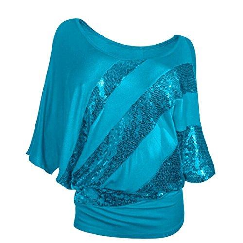 Overdose Mode Frauen Pailletten Casual T-Shirt Tops Schulterfrei Bluse Plus Größe Damen Lose Tees Hemd Freizeit Oberteile(Blau,3XL)
