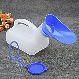 Sairis Pratico di plastica Portatile Unisex Toilette orinatoio Viaggio Auto Viaggio Maschio Femmina Maniglia urina Bottiglia 1000 ml (Bianco e Blu)